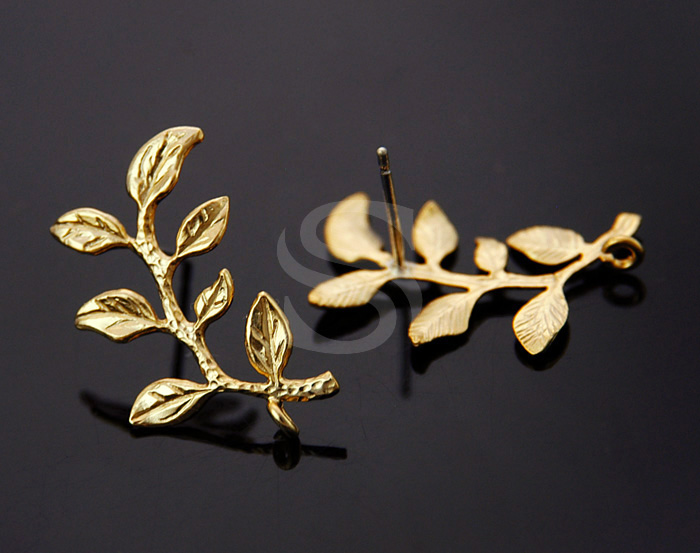 [B1116-E-MG] 2 Pcs / Branch with Leaves Stud Earring Findings / Brass / 23mm x 15mm