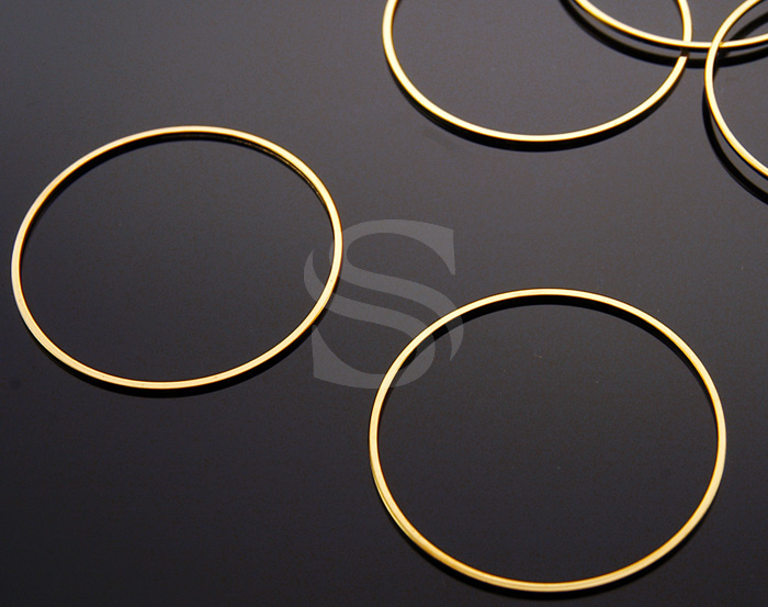 [B1125-C3-G] 6 Pcs / Circle Connector / Brass / 40mm