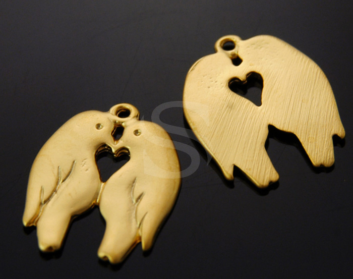 [B1144-P-MG] 4Pcs / Twin Love Birds / Brass / 13mm x 16.4mm