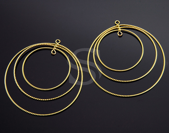 [B1159-C-MG] 2 Pcs / Wire Linked Triple Hoop Connector / Brass / 50mm