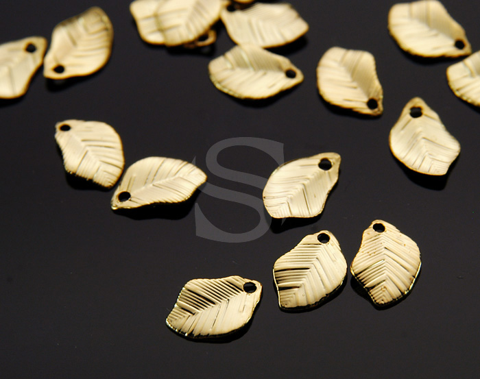 [B1167-P1-G] 8 Pcs / Leaf Charm / Steel / 6.4mm x 10mm