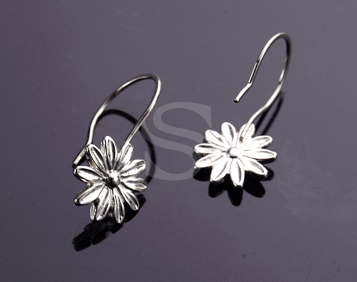 [B1216-H-ATSS] 4 Pcs / Flower Earring Hook / Brass / 11.4mm x 23.4mm