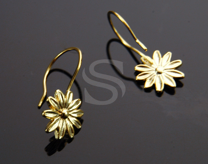 [B1216-H-G] 4 Pcs / Flower Earring Hook / Brass / 11.4mm x 23.4mm