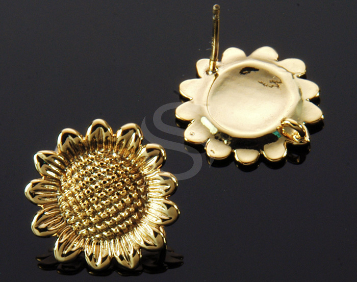 [B1232-E-G] 4 Pcs / Sunflower Stud Earring / Brass / 14.7mm