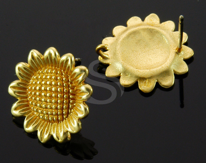 [B1232-E-MG] 4 Pcs / Sunflower Stud Earring / Brass / 14.7mm