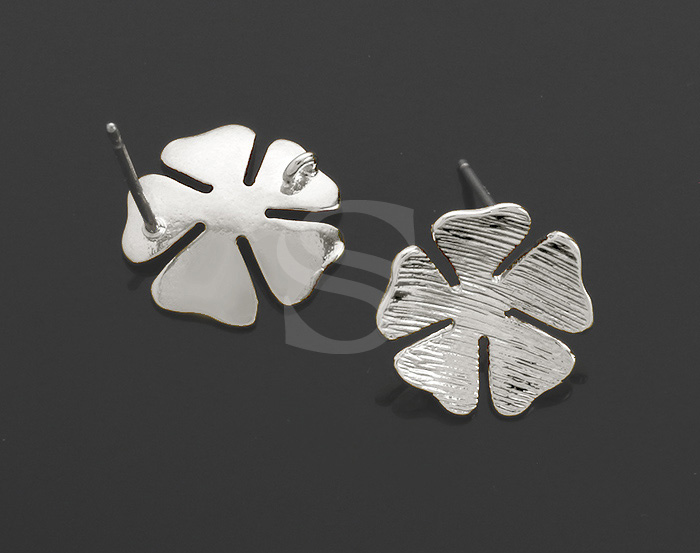 [B1238-E-ATSS] 2 Pcs / Five Petal Flower Earring / Brass / 13.5mm (Diameter)