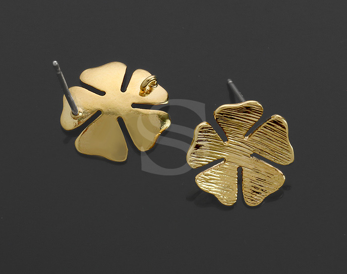 [B1238-E-G] 2 Pcs / Five Petal Flower Earring / Brass / 13.5mm (Diameter)