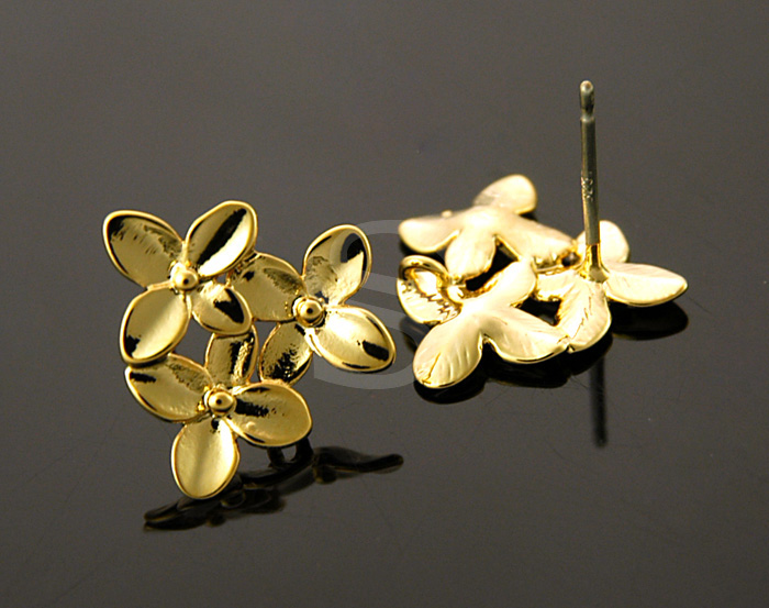 [B0123-E-G] 2 Pcs / Cute Little Bouquet of Flowers Earring Findings / Brass / 15mm