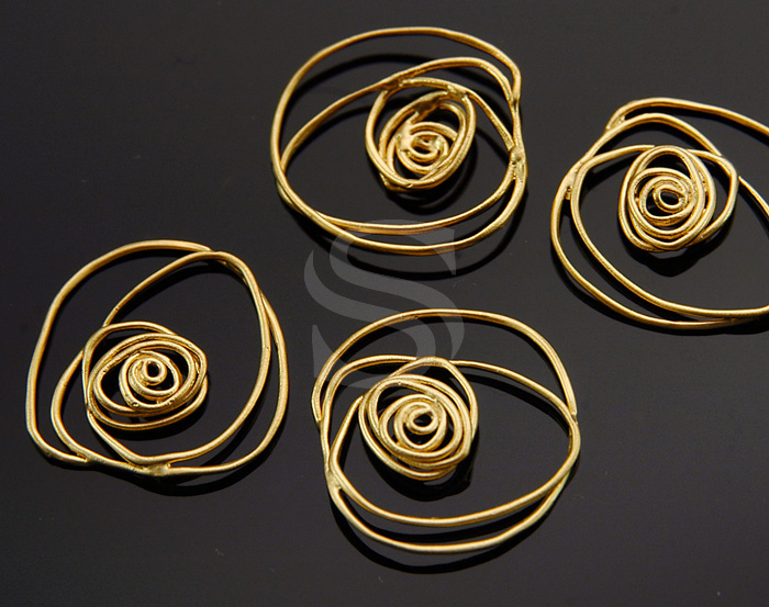 [B1249-C-MG] 4 Pcs / Line Art Rose Connector / Brass / 18mm x 17mm