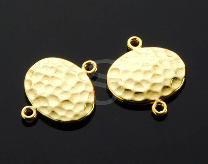 [B1269-C-G] 4 Pcs / Hammered Simple Oval Connector / Brass / 14.6mm x 16.9mm