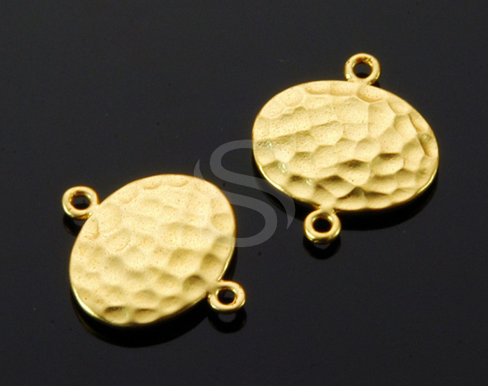 [B1269-C-MG] 4 Pcs / Hammered Simple Oval Connector / Brass / 14.6mm x 16.9mm