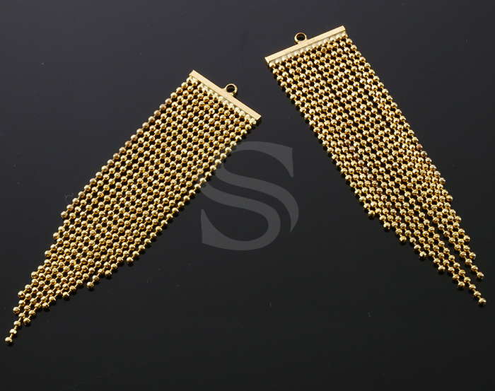 [B1307-P-G] 2 Pcs / Chain Tassel Pendant / Brass / 20mm x 83mm