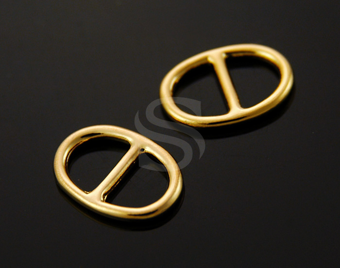 [B1313-C-G] 4 Pcs / Oval Shaped Connector / Brass / 13mm x 9.5mm