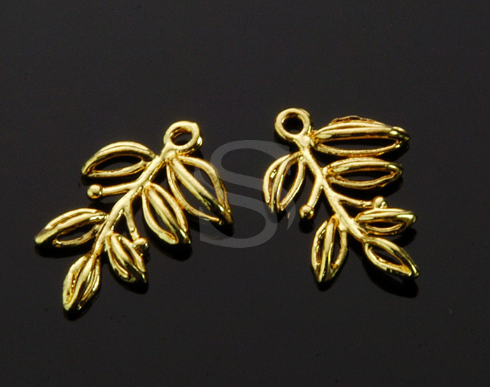 [B1325-P-G] 4 Pcs / Leaves Outline Pendant / Brass / 11.6mm x 17.3mm