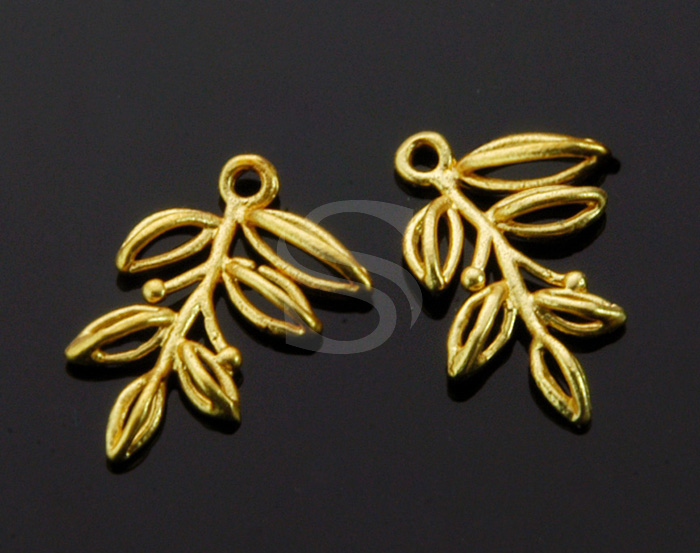 [B1325-P-MG] 4 Pcs / Leaves Outline Pendant / Brass / 11.6mm x 17.3mm
