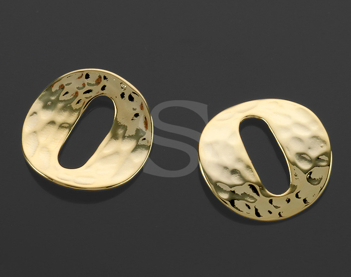 [B1330-C-G] 2 Pcs / Hollow Center Hammered Round Connector / Brass / 19.6 mm (Diameter)