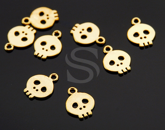 [B1341-P-G] 8 Pcs / Skull Charm / Brass / 8mm x 11mm