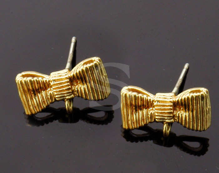 [B1346-E-MG] 4 Pcs / Lovly Ribbon Earring / Brass / 14mm x 7.9mm