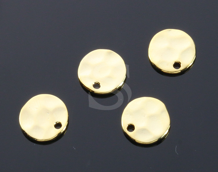 [B1355-P1-G] 4 Pcs / Hammered Simple Round Pendant / Brass / 9.6mm