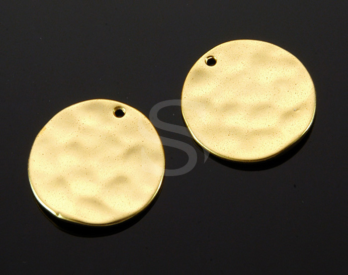 [B1355-P2-MG] 2Pcs / Hammered Simple Round Pendant / Brass / 18.9mm