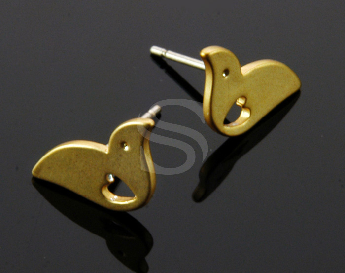 [B1378-E-MG] 4 Pcs / Lovely Bird Stud Earring / Brass / 13mmx7.2mm