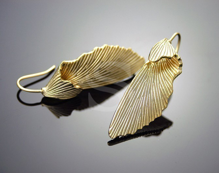 [B-138-MG] Beautifully Folded Earrings / Brass / 12mm x 40mm