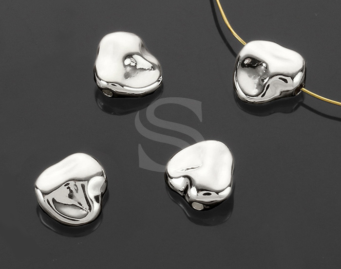 [B1392-C-ATSS] 4 Pcs / Unique Shape Beads / Brass / 8mm x 7.9mm
