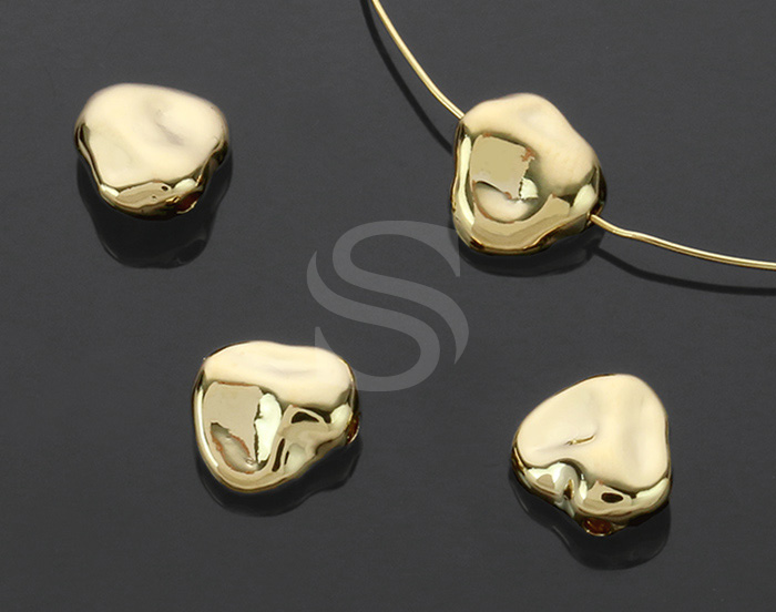 [B1392-C-G] 4 Pcs / Unique Shape Beads / Brass / 8mm x 7.9mm