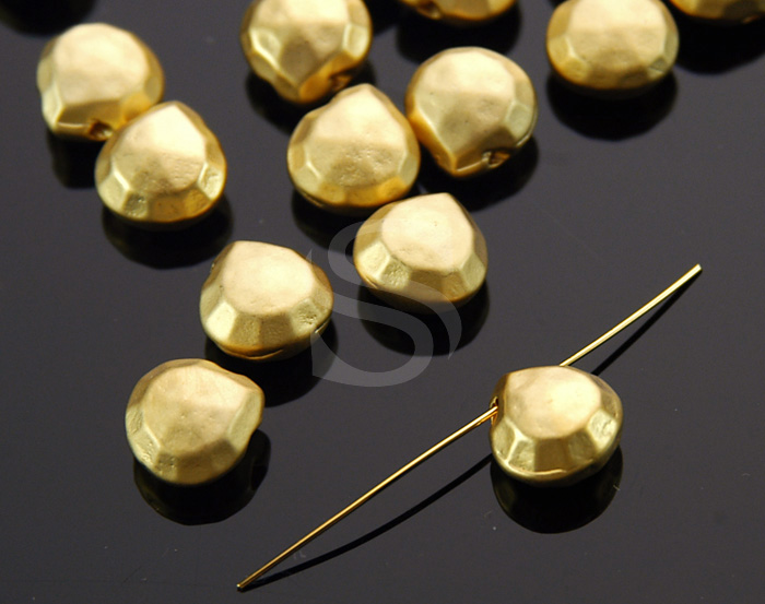 [B1396-C-MG] 6 Pcs / Micro Faceted Pear Shape Beads / Brass / 8mm x 8mm