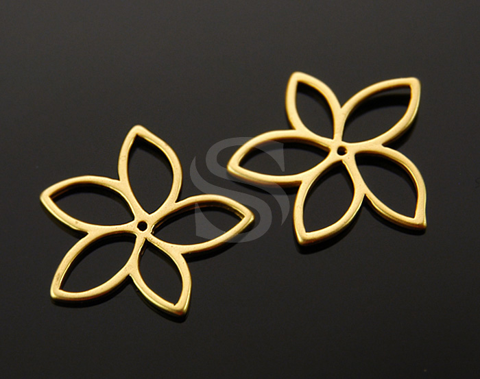 [B1404-C-MG] 4 Pcs / Flower Outline Connector / Brass / 19.5mm