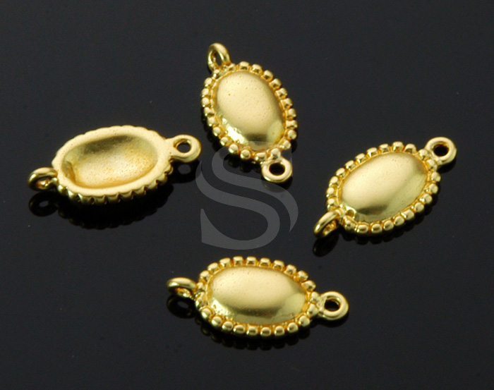 [B1408-C-MG] 4 Pcs / Unique Oval Connector / Brass / 6.9mm x 13.5mm