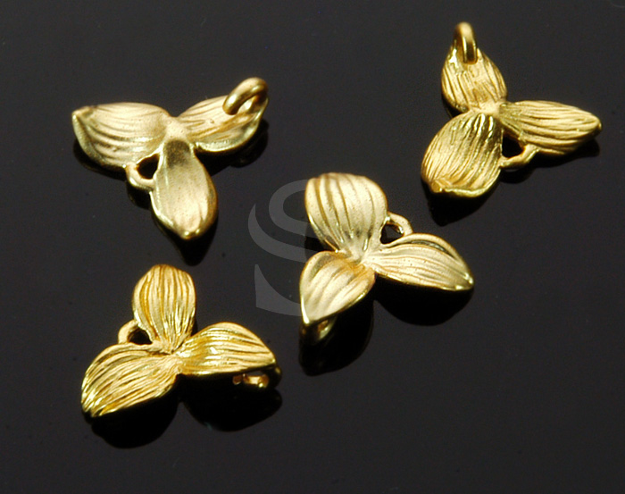 [B1409-C4-MG] 4 Pcs / Beautiful Flowers Connector Ver.2 / Brass / 11.5mm x 10.4mm