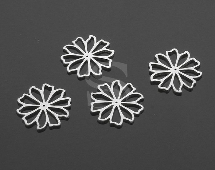[B1420-C-MS] 4 Pcs / Delicate Cut Out Flat Flower Connector / Brass / 14.6mm