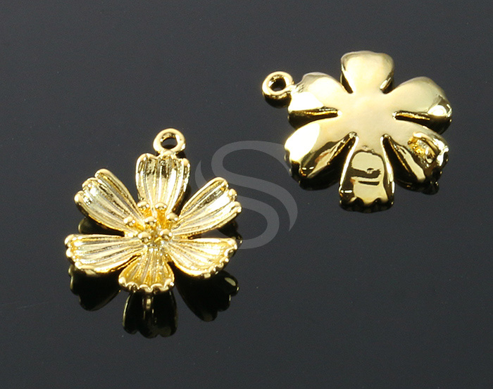 [B1449-C2-G] 4 Pcs / Six Petals Flower Connector / Brass / 14.9mm x 18.2mm