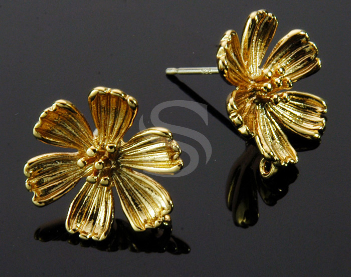 [B1449-E-G] 4 Pcs / Six Petals Flower Post Earring / Brass / 14mm x 14mm