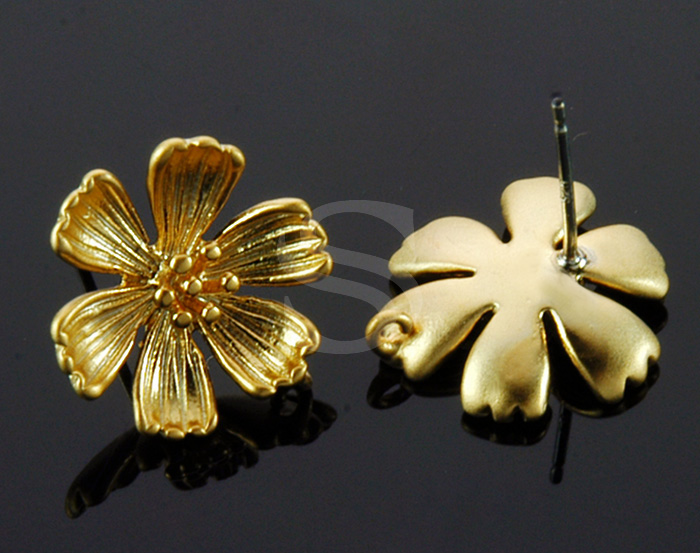 [B1449-E-MG] 4 Pcs / Six Petals Flower Post Earring / Brass / 14mm x 14mm