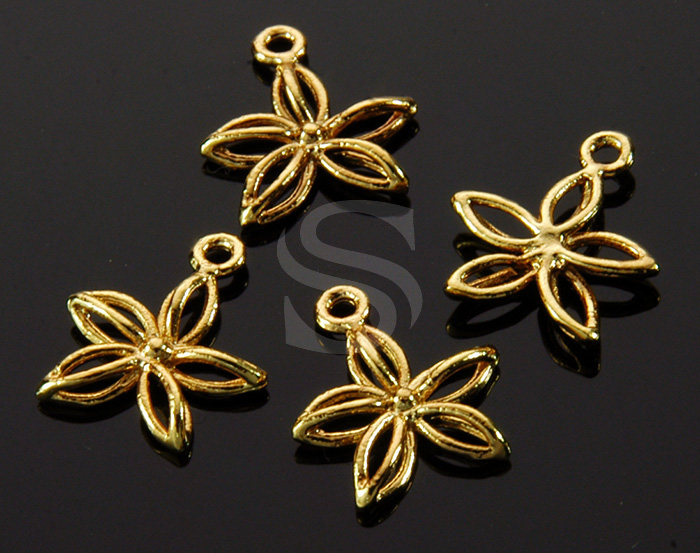 [B1452-P2-G] 4 Pcs / Line Art Mini Flower Charm / Brass / 11.5mm x 13mm