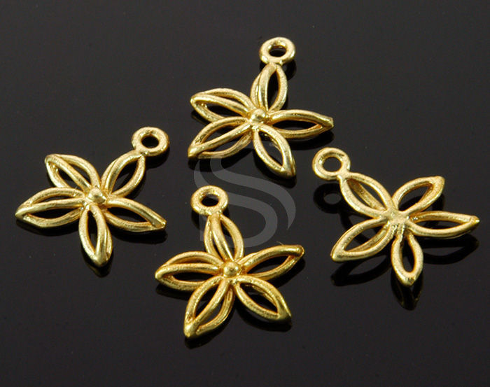[B1452-P2-MG] 4 Pcs / Line Art Mini Flower Charm / Brass / 11.5mm x 13mm