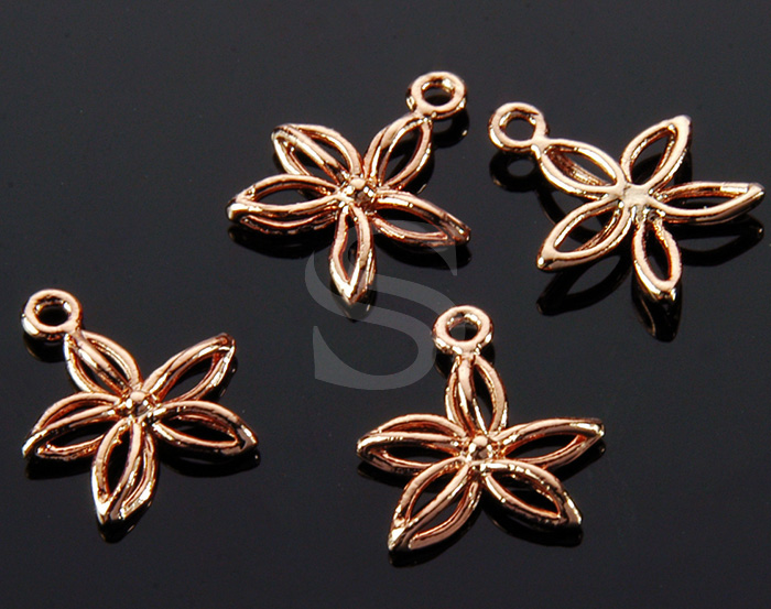 [B1452-P2-RG] 4 Pcs / Line Art Mini Flower Charm / Brass / 11.5mm x 13mm