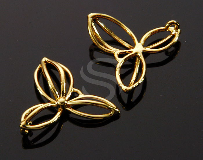 [B1453-C-G] 4 Pcs / Line Art Three Petal Flower Connector / Brass / 18.5mm x 16.9mm