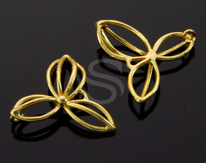 [B1453-C-MG] 4 Pcs / Line Art Three Petal Flower Connector / Brass / 18.5mm x 16.9mm