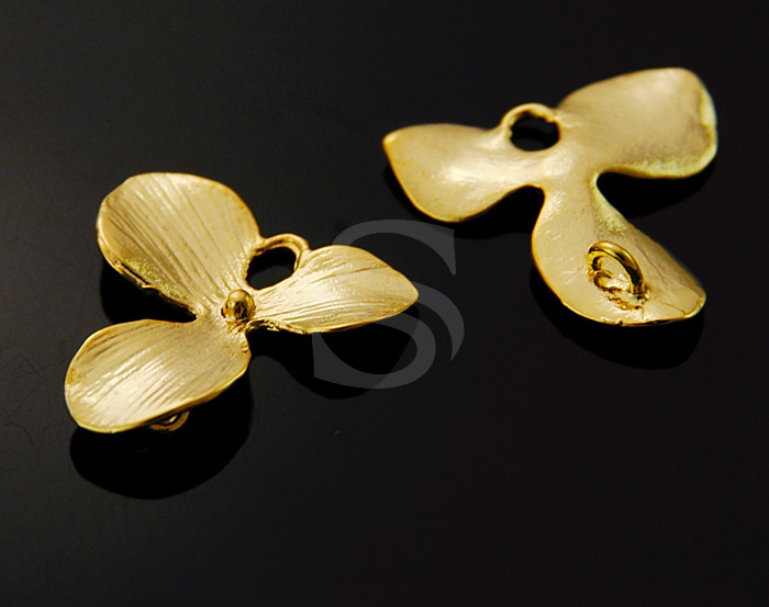 [B0661S-C2-G] 2 Pcs / 'Orchid Flower' Ver.1 / 92.5% Sterling Silver / 17mmx18mm