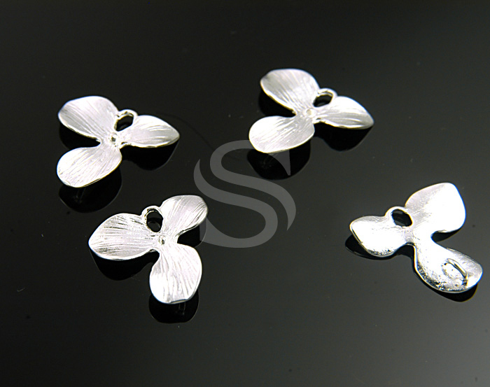 [B0661S-C2] 2 Pcs / 'Orchid Flower' Ver.1 / 92.5% Sterling Silver / 17mmx18mm