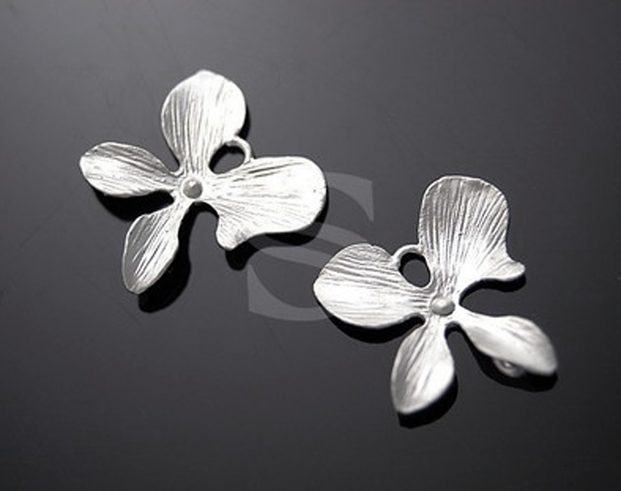 [B0661-C3-MS] 4 Pcs / Orchid Flower Ver.2 / Brass / 14.5mmx13.5mm