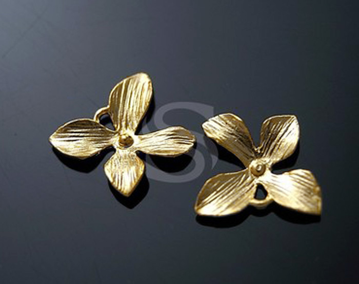 [B0661-P-MG] 4 Pcs / Orchid Flower Ver.3 / Brass / 9.5mmx11.5mm