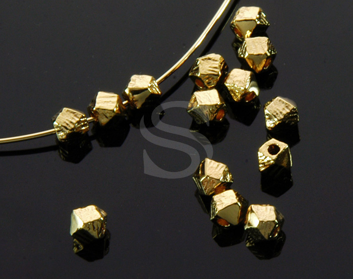 [B1494-C1-G] 10 Pcs / Faceted Nuggets Bead / Brass / 3mm
