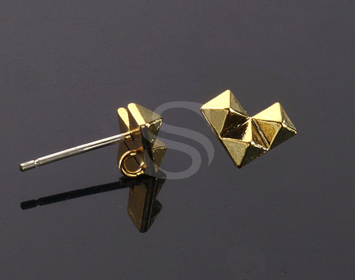 [B1495-E-G] 4 Pcs / Tetris stud earring Findings / Brass / 9.5mm x 7.2mm
