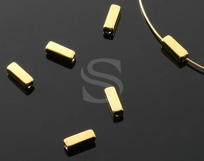 [BS1105-G] 6 Pcs / Rectangle Brick beads / Brass / 7.4mm x 2.5mm