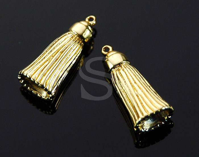 [B1506-P-G] 2 Pcs / Mini Tassel Charm / Brass / 9.3mm x 21.2mm