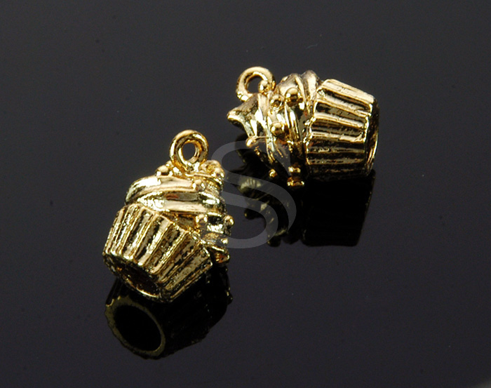 [B1507-P-G] 4 Pcs / Mini Muffin Charm Pendant / Brass / 9.3mm x 11.6mm